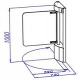 Калитка усиленная (проход 570 мм) электромоторная, цилиндрическая стойка, преграждающая створка - стекло, индикаторы направления прохода, нержавеющая сталь. OMA-36.587.AA