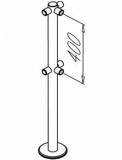 Стойка из 48 мм нерж. трубы на фланце, декоративная крышка фланца, шесть муфт под поручень ? 38 мм. OMA-02.366_D