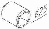 Муфта для крепления поручня d38мм к стойке, 1 винт, нерж. OMA-01.3m6